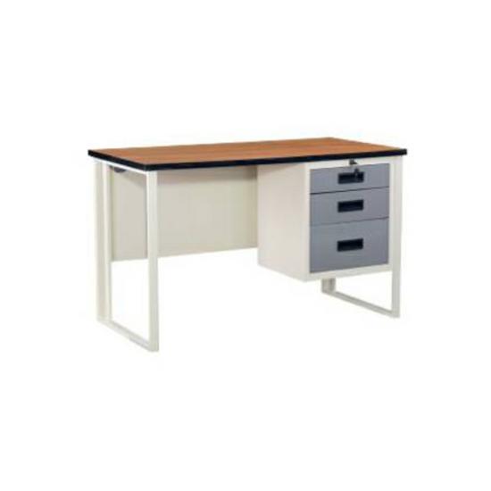 โต๊ะเหล็กขาคู่หน้าไม้ TW4D1