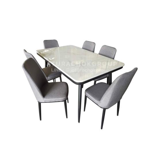 โต๊ะอาหาร 6 ที่นั่ง แกร็บ (สีเทา)