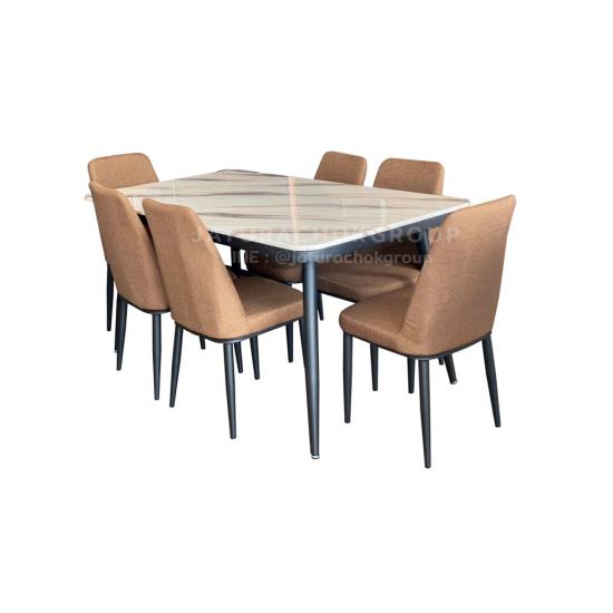โต๊ะอาหาร 6 ที่นั่ง แกร็บ (สีน้ำตาล)