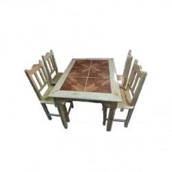 ชุดโต๊ะอาหาร 4 ที่นั่ง หน้ากระเบื้อง