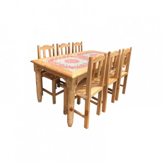 ชุดโต๊ะอาหาร 6 ที่นั่ง หน้ากระเบื้อง
