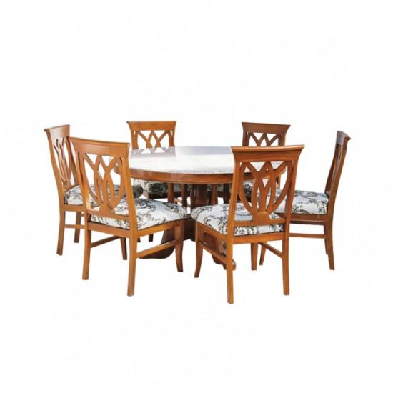 โต๊ะอาหารกลม 6 ที่นั่ง ไม้สัก