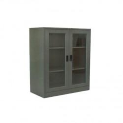 ตู้เอกสาร 2 บานเปิดกระจก 3 ฟุตเตี้ย (มือจับฝัง)