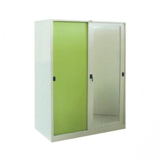 ตู้เสื้อผ้าบานเลื่อนกระจกเงา 4 ฟุต (ทึบเงา)