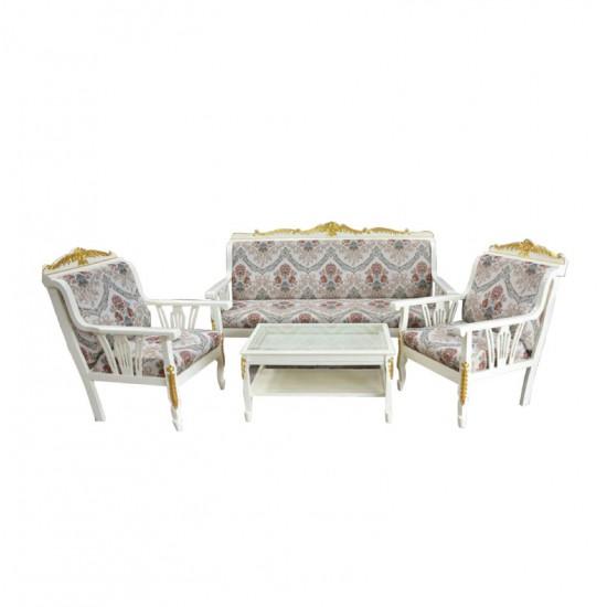 ชุดโซฟารับแขกสายไหมแกะลาย+โต๊ะกลางกระจกสายไหมแกะลายสีขาวเดินทอง