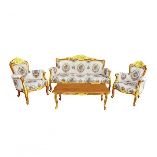 ชุดโซฟาหลุยส์โกเมน+โต๊ะกลางหลุยส์โกเมน-สีธรรมชาติเดินทอง