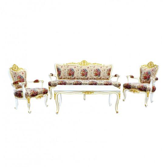 ชุดโซฟาหลุยส์ชบา+โต๊ะกลางหลุยส์ชบา-สีพ่นขาวเดินทอง