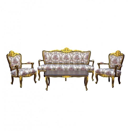 ชุดโซฟาหลุยส์ชบา+โต๊ะกลางหลุยส์ชบา-สีโอ๊คเดินทอง