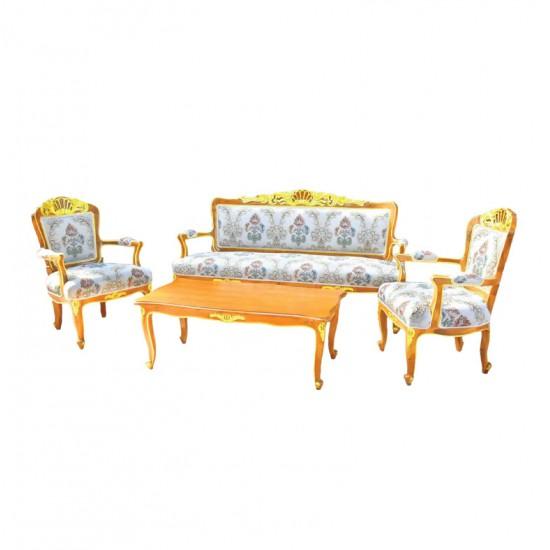 ชุดโซฟาหลุยส์โรสหลุยส์-โต๊ะกลางหลุยส์โรสหลุยส์-สีธรรมชาติเดินทอง