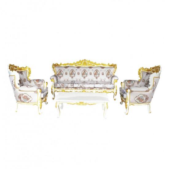 ชุดโซฟาหลุยส์โอบมาลัย-โต๊ะกลางหลุยส์โอบมาลัย-สีพ่นเดินทอง