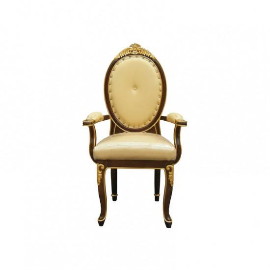 เก้าอี้หลังกลมหัวแคท-(แกะลาย)-พนักพิงสูง-มีท้าวแขน