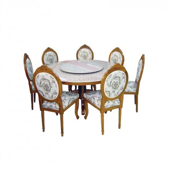 ชุดโต๊ะอาหารหลังกลมแกะลายพร้อมจานหมุน
