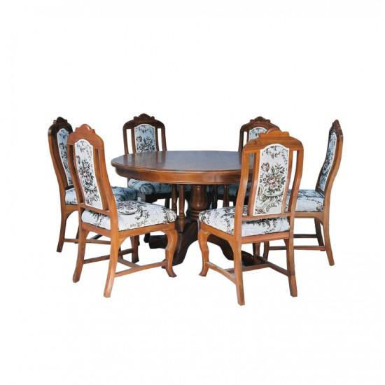 ชุดโต๊ะอาหารกลมศรแดงขาหลุยส์